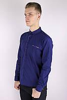 Мужская приталённая рубашка синяя Турция 2399