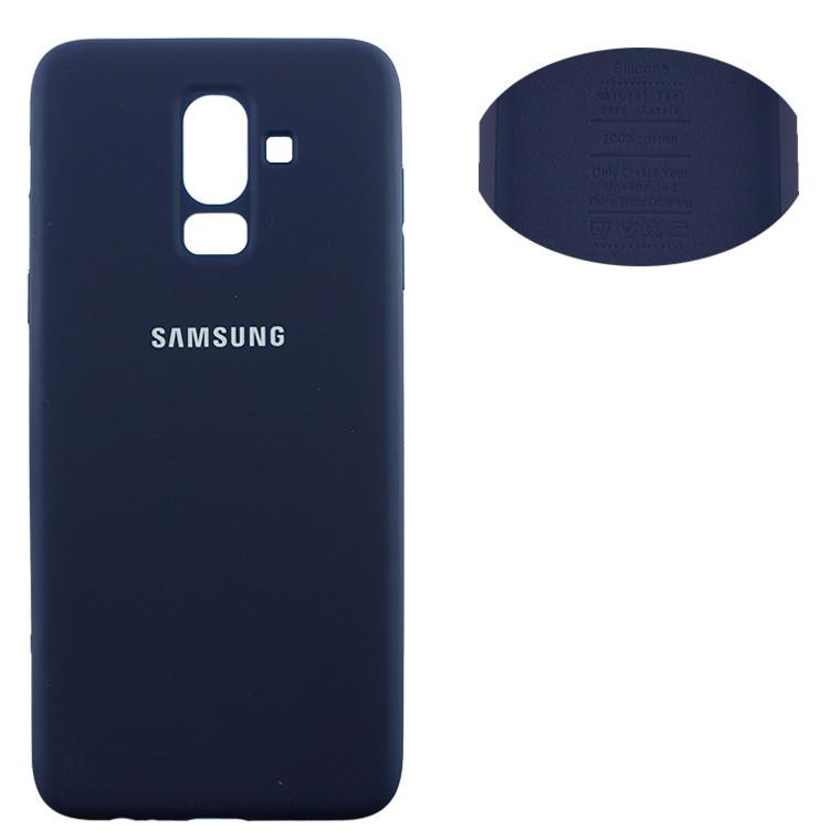Чехол Silicone Cover Samsung J8 2018 J810 синий