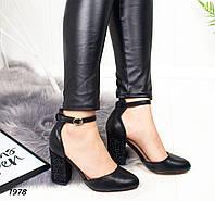 d6e7aba4e Туфли женские черные с ремешком на толстом каблуке,устойчивом каблуке,  высоком