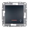 Кнопка «Свет» с подсветкой самозажимные контакты Антрацит Schneider Asfora plus (EPH1800171)