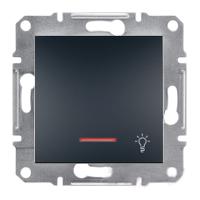 Кнопка «Свет» с подсветкой самозажимные контакты Антрацит Schneider Asfora plus (EPH1800171), фото 1