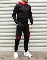 Качественный мужской спортивный костюм, черные с красными вставками