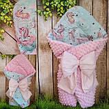 Двухсторонний конверт весна-лето-осень для новорожденных   78*78 см, фото 2