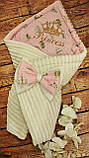 Конверт - плед на выписку с вышивкой серые Короны, фото 2