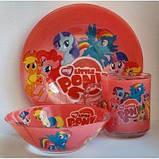 """Набор детской стеклянной посуды из 3-х предметов """"My Little Pony (Мой маленький пони) """", фото 2"""