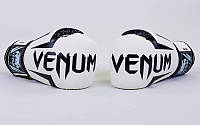 Перчатки боксерские PU на липучке VENUM BO-5698-W (р-р 6-14oz)