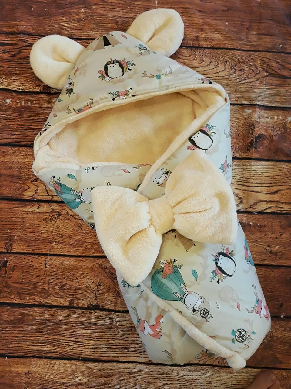 Двухсторонний теплый конверт- одеяло   для новорожденных