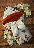 Конверт  Лошадки красный двухсторонний с капюшоном для новорожденных, фото 2