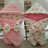 Конверт  Лошадки красный двухсторонний с капюшоном для новорожденных, фото 3