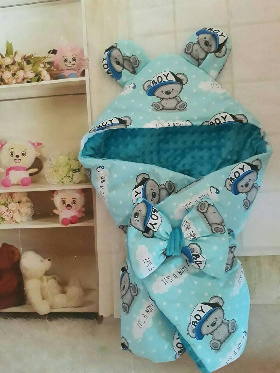 Конверт с капюшоном  и ушками  для  новорожденных Мишка
