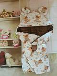 Конверт с капюшоном  и ушками  для  новорожденных Мишка, фото 6