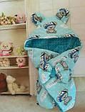Конверт плюшевый  на выписку с ушками  для  новорожденных Мишки, фото 2