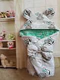 Конверт плюшевый  на выписку с ушками  для  новорожденных Мишки, фото 3
