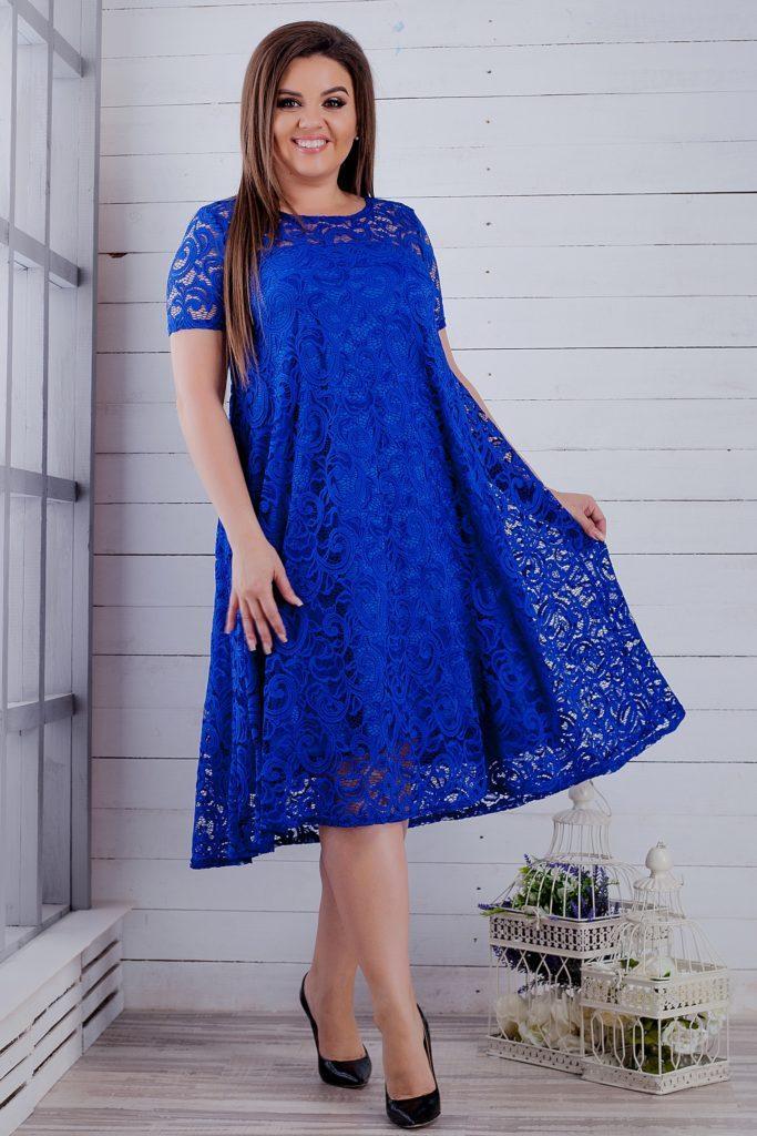Гипюровое платье электрик 8260
