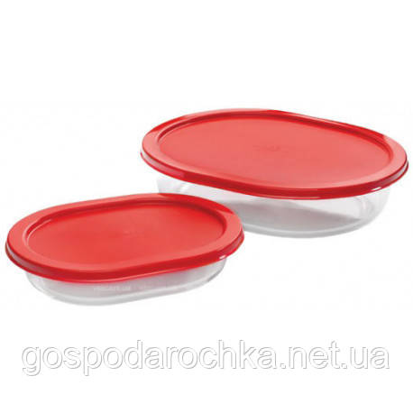 Емкости для еды PASABAHCE Боркам 2шт с крышками 159110