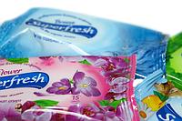 Салфетки влажные (SuperFresh) 15шт:Виноград, Цветы, Морской Бриз