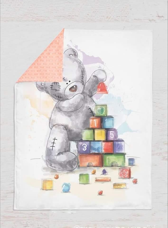 Одеяло - плед  для мальчиков Мишка, сатин+плюш,   75*100см