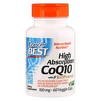 Коэнзим Q10 Высокой Абсорбации 100мг, BioPerine, Doctor's Best, 60 гелевых капсул