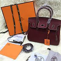 5fad2402 Хит Женская сумка Кожа Hermes Birkin Гермес Биркин 35 см марсала Original  quality