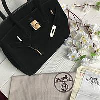 697dcdfc6444 Хит Женская сумка Кожа замш Hermes Birkin Гермес Биркин 35 см черная  Original quality