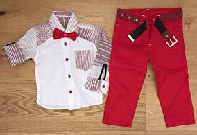 Нарядный костюм с льняной рубашкой для мальчика  с бабочкой Турция р. 5, 6