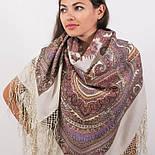 Волшебный узор 1290-2, павлопосадская шаль из уплотненной шерсти с шелковой вязаной бахромой Стандарт, фото 8