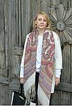 Волшебный узор 1290-2, павлопосадская шаль из уплотненной шерсти с шелковой вязаной бахромой Стандарт, фото 9