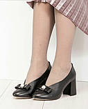 Шикарные эксклюзивные женские туфли из итальянской кожи с бантом, фото 4