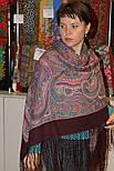 Драгоценная 1292-7, павлопосадский платок (шаль) из уплотненной шерсти с шелковой вязанной бахромой, фото 4