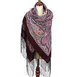 Драгоценная 1292-7, павлопосадский платок (шаль) из уплотненной шерсти с шелковой вязанной бахромой, фото 2