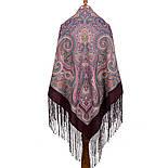Драгоценная 1292-7, павлопосадский платок (шаль) из уплотненной шерсти с шелковой вязанной бахромой, фото 3