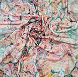 Платок шелковый 10099-1, павлопосадский платок (крепдешин) шелковый с подрубкой, фото 3