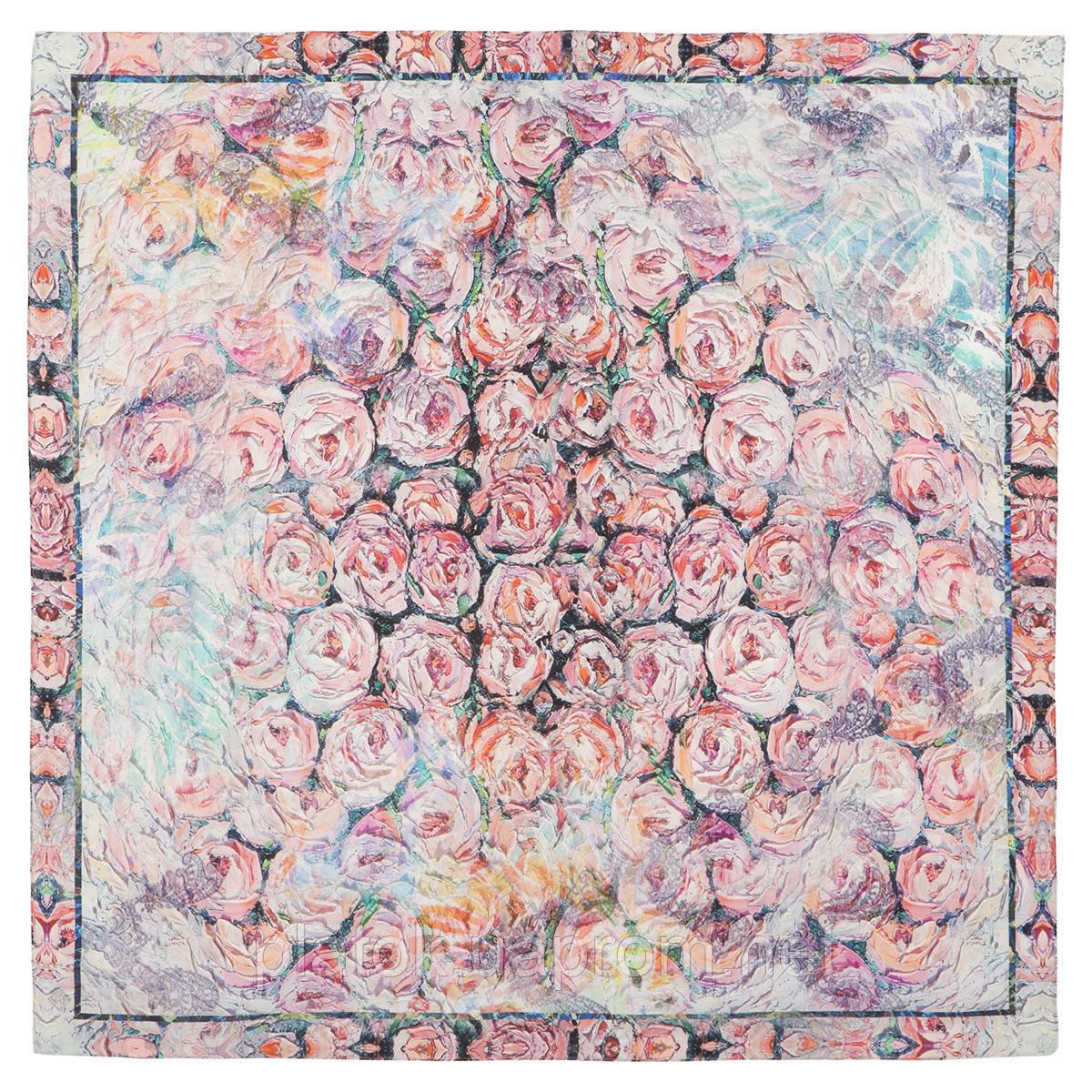 Платок шелковый 10099-1, павлопосадский платок (крепдешин) шелковый с подрубкой