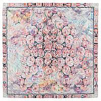 Платок шелковый 10099-1, павлопосадский платок (крепдешин) шелковый с подрубкой, фото 1