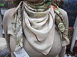 Винтаж 10092-2, павлопосадский платок (крепдешин) шелковый с подрубкой, фото 4
