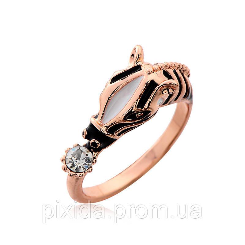 Кольцо Зебра позолота эмаль