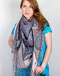 Драгоценная 1292-2, павлопосадский платок (шаль) из уплотненной шерсти с шелковой вязанной бахромой, фото 6