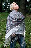 Драгоценная 1292-2, павлопосадский платок (шаль) из уплотненной шерсти с шелковой вязанной бахромой, фото 5