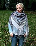 Драгоценная 1292-2, павлопосадский платок (шаль) из уплотненной шерсти с шелковой вязанной бахромой, фото 4