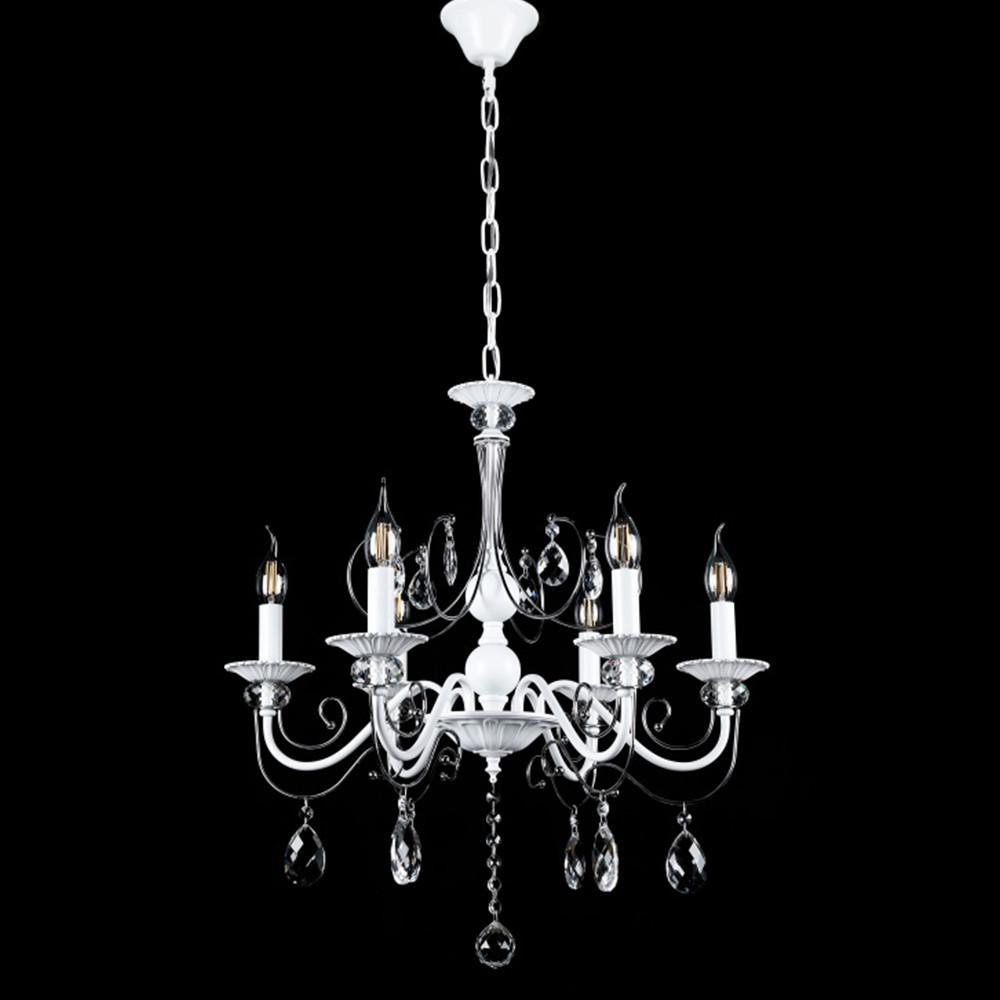 Классическая люстра-свеча на 6 лампочек СветМира VL-41391/6 (белая с хромом)