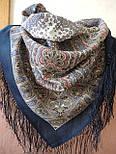 Мозаика 543-15, павлопосадский платок шерстяной  с шелковой бахромой, фото 3
