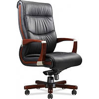 Кресло для руководителя Монтана НВ, кожа черная (619-B+PVC)