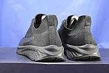 Легкі кросівки сітка чорні на чорній підошві в стилі Puma, фото 4