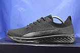 Легкі кросівки сітка чорні на чорній підошві в стилі Puma, фото 5
