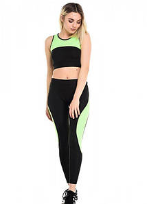 Спортивный костюм для фитнеса из лосин и топа черный с салатовым