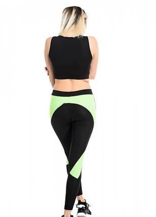 Спортивний костюм для фітнесу з сумочок та топа чорний з салатовим, фото 2