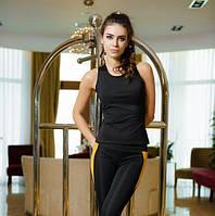 Спортивный костюм из эластика Issa Plus 1610  маечка и лосины черный с горчичным