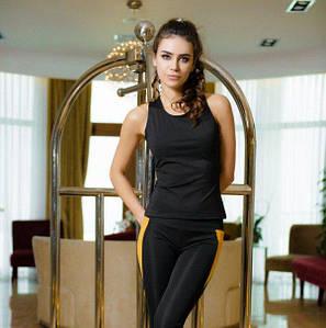 Спортивный костюм из эластика маечка и лосины черный с горчичным размер L