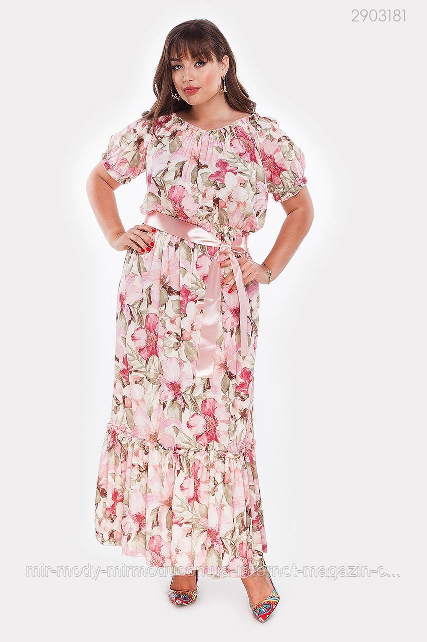 Летнее платье Мальва (фрезовый) (2 цвета) с 50 по 56 размер  (рин)