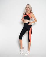 Спортивный фитнес костюм Issa Plus 10495 бриджи топ черный с розовым